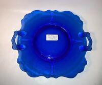Vintage Cobalt Blue Glass Handled Cake Plate MT Pleasant Pattern See pics Nice!