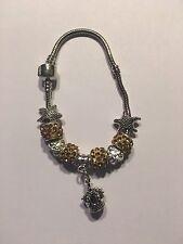Silver Czech Crystal Rhinestones Spacer Bead European Charm Bracelet-B1034
