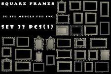 STL 3D Models # SQUARE FRAMES № 1 # 30+3 PCS  for CNC Aspire Artcam 3D Printer