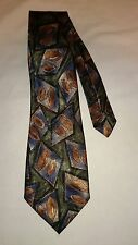 Envoy Men's Vintage Tie in a Blue Grey and Brown Abstract Pattern