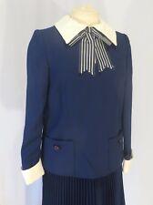 Vintage 70s School Girl Dress Shirt Top Blouse w Bow Pleat Skirt  NOS