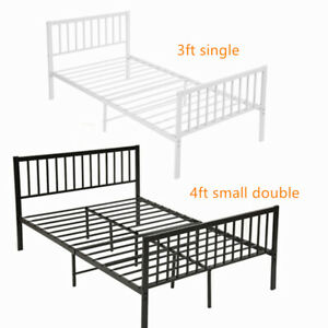 Strong Metal Bed Frame 3ft 4ft Small Double Size Solid Bedstead Base Mattress