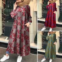 ZANZEA Femmes Abaya Musulman À Manches Longues Caftan Islamique Dubaï Robe Plus