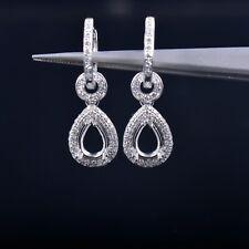 Natural Diamond Semi Mount Drop Earrings Setting Pear Cut 7×5mm 14K White Gold