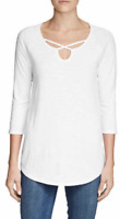 Eddie Bauer Women's White Gate Check 3/4-Sleeve Cross-Front Tunic