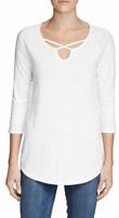 Eddie Bauer Women's White Gate Check 3/4-Sleeve Cross-Front Tunic