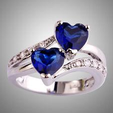 Lovely Sapphire Quartz & White Topaz Gemstones Silver Ring Size L N P R T V Y Z