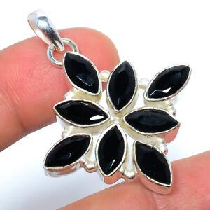 "Black Onyx Gemstone 925 Sterling Silver Handmade Pendant 1.76"" S2666"
