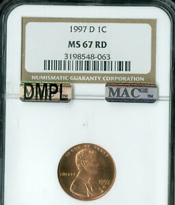 1997-D LINCOLN CENT NGC MS67 RED DMPL PQ 2ND FINEST REGISTRY MAC SPOTLESS .
