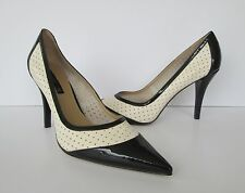 Bandolino Womens Black & Cream White Pointy Toe Stilettos Heels Shoes 10 M