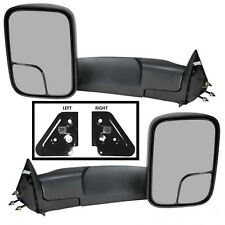 Manual Mirror Black 7X10 Flip-Up Trailer Tow Pair With Brackets Dodge Pick Truck