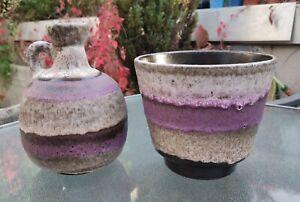 Stunning Ruscha West German Pottery Purple Fat Lava Keramik Jug & Plant Pot