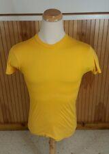 Vintage 70s Blank Plain Yellow 5050 T Shirt Small Retro Atomic 80s USA Mod Surf