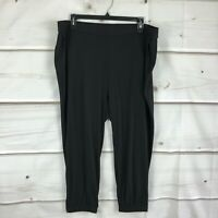 Lisa Rinna Collection Womens Banded Bottom Knit Crop Length Pants Black Size 2X