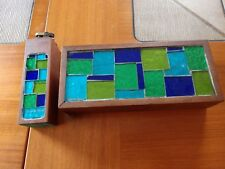 Signed Georges Briard Geometric Foil Covered Smoking Set