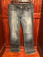 7 For All Mankind Flynt Jeans Women 32 W 34 L Blue - EUC