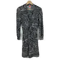 Leona Edmiston Womens Dress Size 1 AU 6-8 Black Swirls Pattern Long Sleeve Tie