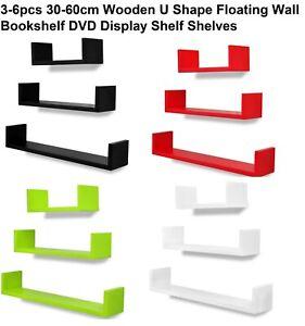 3-6pcs 30-60cm Wooden U Shape Floating Wall Bookshelf DVD Display Shelf Shelves