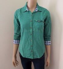 NEW Abercrombie Women Plaid Button Down Shirt Top Size XS Green Checks