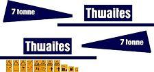 Thwaites 7 Tonnen Kipper Abziehbilder Aufkleber und Sicherheit Warnung Aufkleber
