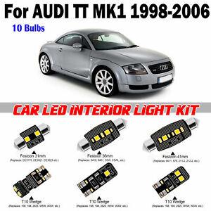 10pcs Deluxe White Interior LED Light Kit For AUDI TT MK1 1998-2006 Error Free