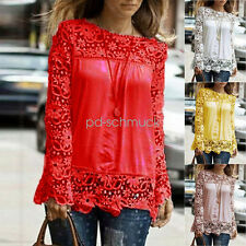 Women Long Sleeve Shirt Ladies Hollow out Flowers Lace Chiffon Blouse Tee Tops