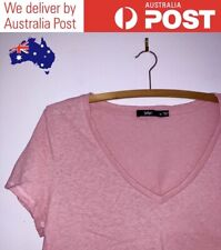 LIGHT PINK OVERSIZED V-NECK T-SHIRT - CUTE CROPPED BASIC TOP, SPORTSGIRL SIZE XS
