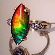Ammolite Ring 10K Gold  , (15.00 x 7.00)mm , Size 7, Certificate