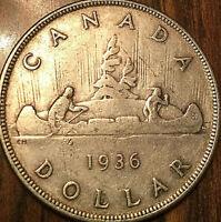 1936 CANADA SILVER DOLLAR COIN - Excellent example!