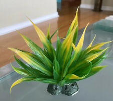 Green & Yellow Plastic Artificial Aquarium Plant w/ Stone Base 6""