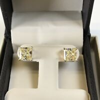 5 Ct Studs Diamond Earrings Princess Fancy Canary Yellow Man Made 14k Solid Gold
