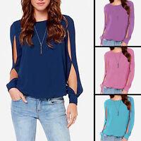 Women Casual Round Neck Long Sleeve Chiffon T Shirt Loose Tops Blouse