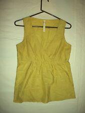 222  Fossil Yellow-Green Silk Sleeveless V-Neck Top S