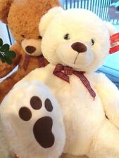 "Two Stuffed Giant 40"" Teddy Bears (White & Tan) Brand New - Free Shipping"