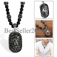 Mens Onyx Beads Chain Stainless Steel Goth Lion Head Shield Pendant Necklace 26""