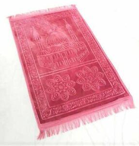 Pink Plain Padded Prayer Mat Non Slip Islamic Janamaz Musallah