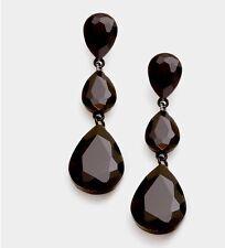 """3"""" Long Black Jet Pierced Rhinestone Drop Austrian Crystal Pageant Earrings"""