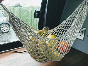 Crochet Fruit Mesh Bag 100% Cotton Fruit Hammock Motorhomes Camping
