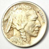 "1917-D Buffalo Nickel 5C Coin - XF Details - Scarce Date ""D"" Mint Coin!"