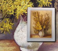 Increíblemente sólido Pintura al óleo con Forsythia en blanco Florero firmado