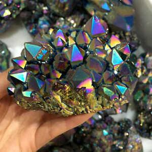 100g Natural Rainbow Aura Titanium Quartz Crystal Cluster VUG Specimens Gemstone