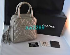 AUTHENTIC RARE CHANEL GRAY SILVER QUILTED TASSEL BAG WITH CARD BOOKLET DUSTBAG