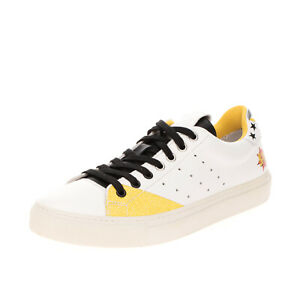 RRP €170 MARIANO DI VAIO Leather Sneakers Size 39 UK 5 US 6 Embroidered Grainy
