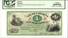 1873 $1 The South Carolina Railroad PCGS 66PPQ GEM NEW- WOW RADAR SERIAL # 43334