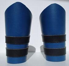 2 Leather Gauntlet Arm Bands Black & Blue Biker Accessory Adjustable