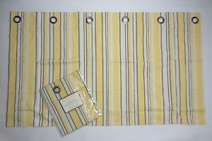 POTTERY BARN Cafe Curtain Stripe Grommet Valance Yellow/Brown/White NIP