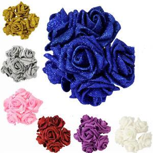 50 PCS Artificial Foam Roses Flower Heads Glitter Powder Bouquet Wedding Decor