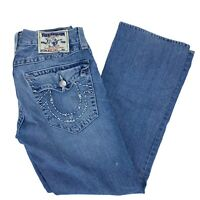 True Religion Boot Cut Denim Jeans Flap Pocket Distressed Men's Size 31W x 30L