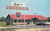 Scottsburg Indiana~Mariann Retaurant & Sign~1970s Cars in Parking Lot PC