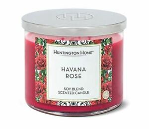 Huntington Home RED HAVANA ROSE SCENT 14 OZ 3-Wick SOY BLEND Candle NEW TAGS